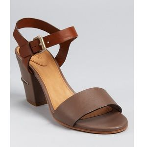 Chloe Tan Leather Stacked Heel Sandals Size 40